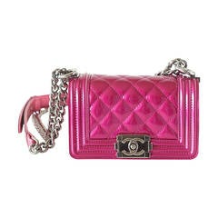 Chanel Bag Mini Boy Metallic Patent Fuchsia Crossbody