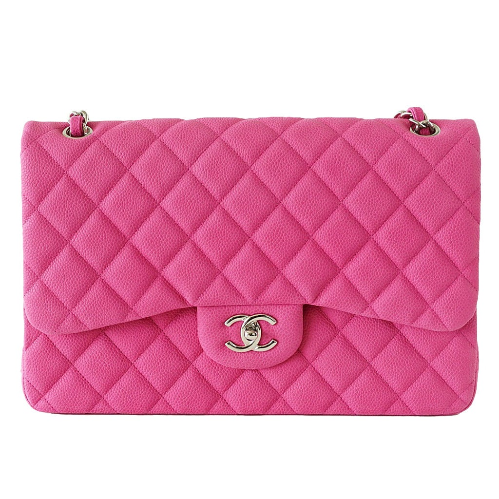 CHANEL bag Jumbo double flap quilted hot pink Fuchsia sueded caviar NW For Sale