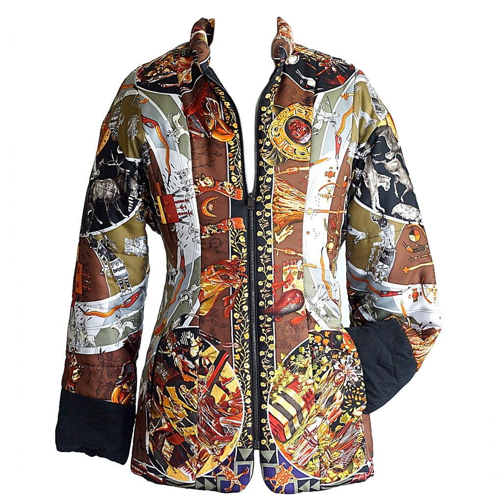 HERMES jacket reversible Les Mythologies des Hommes Rouges scarf print  XS