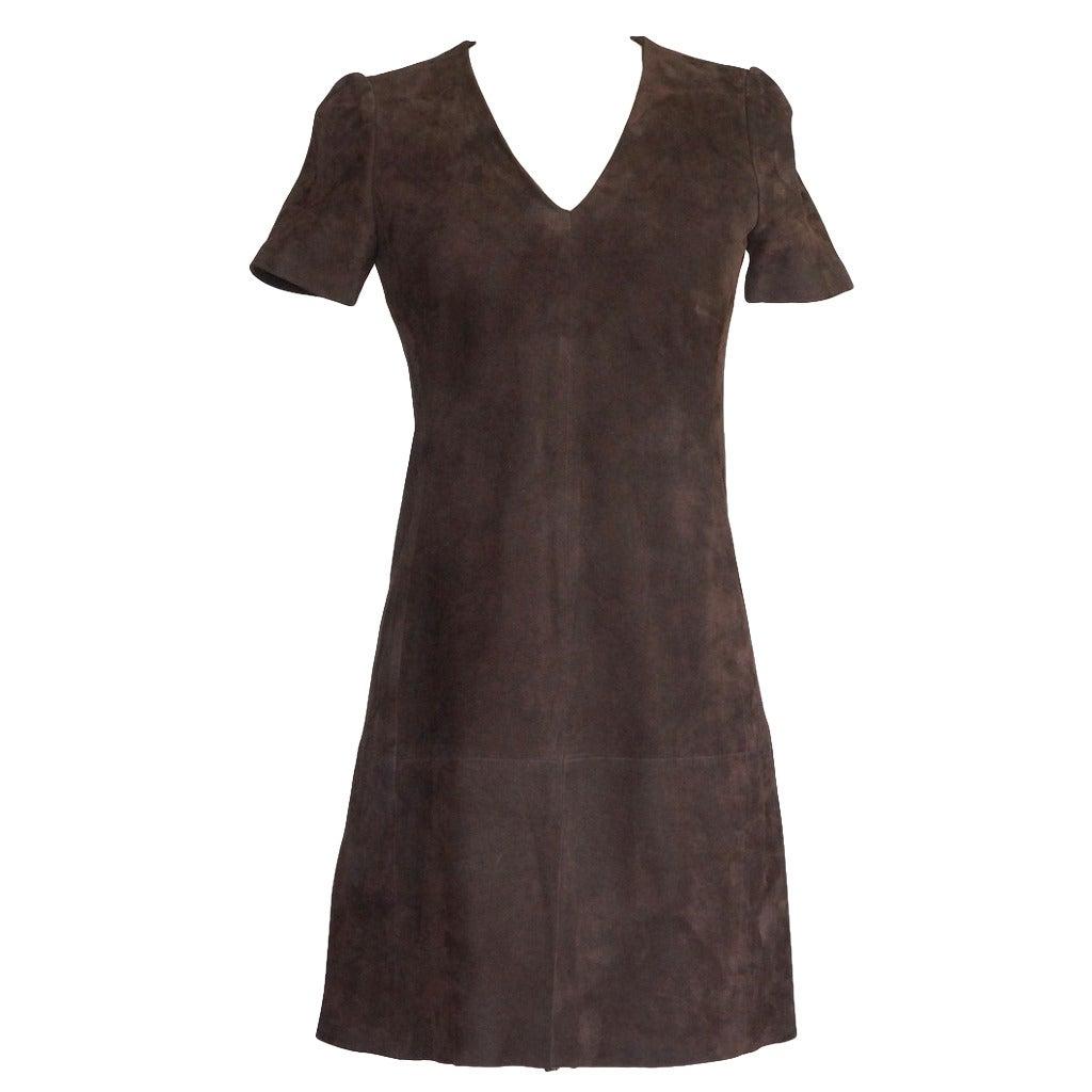 Balenciaga Dress Runway Lush Soft Rich Chocolate Brown Suede 38 / 4