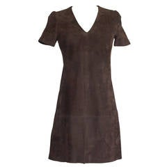 Balenciaga Dress Runway Lush Soft Rich Chocolate Brown Suede 38 / 4