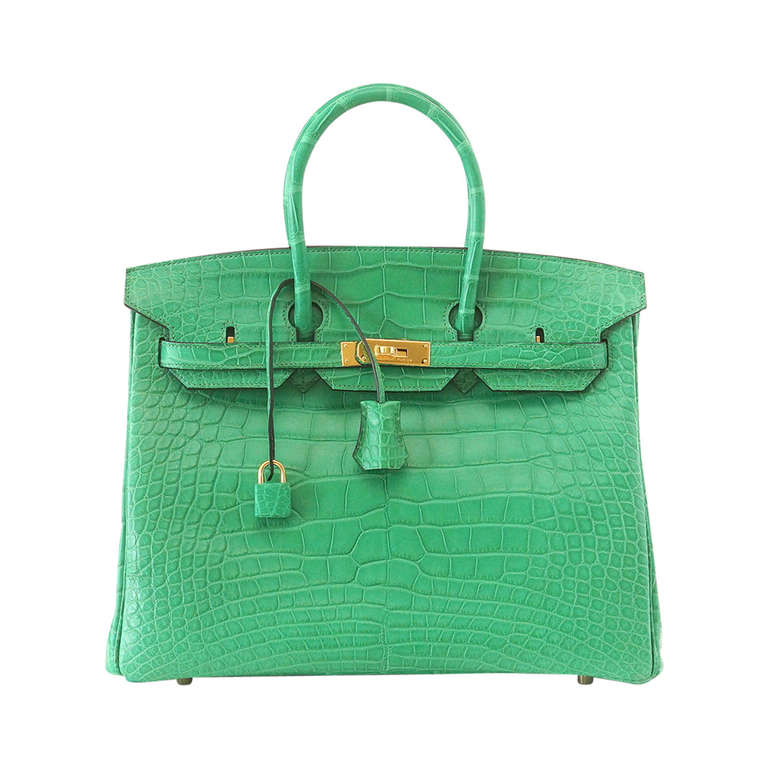 Hermes Birkin 35 Matte Alligator Cactus Gold Hardware Bag  For Sale