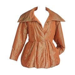 Hermes Jacket Exquisite Vintage Silk Moire Puffer Dramatic 36 / 6