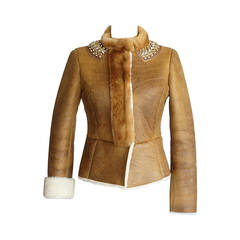 Prada Jacket Distressed Shearling Mink and Jeweled Collar 40 /  6