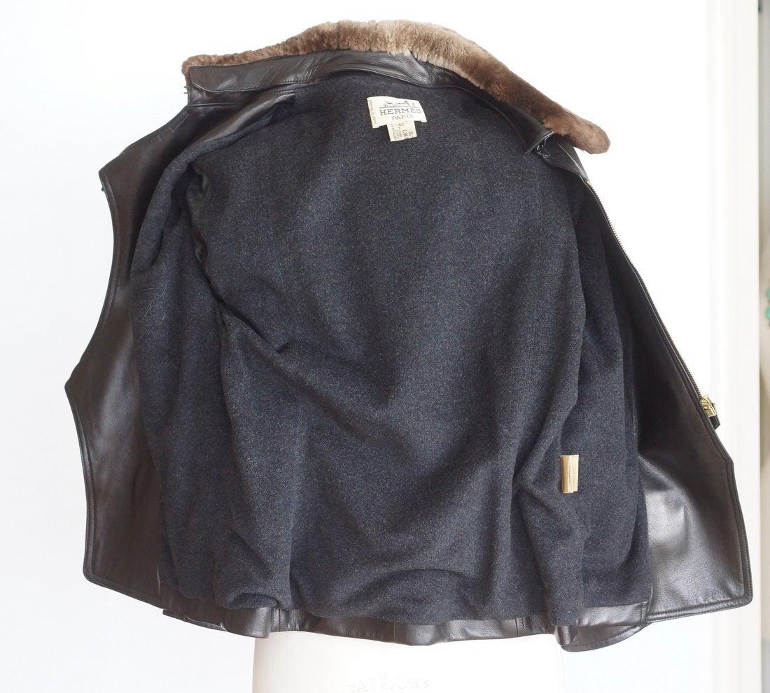 Hermes Vintage Leather Jacket with Detachable Fur Collar 42   For Sale 2