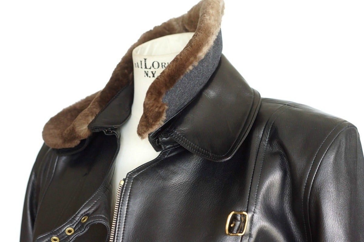 Women's Hermes Vintage Leather Jacket with Detachable Fur Collar 42   For Sale