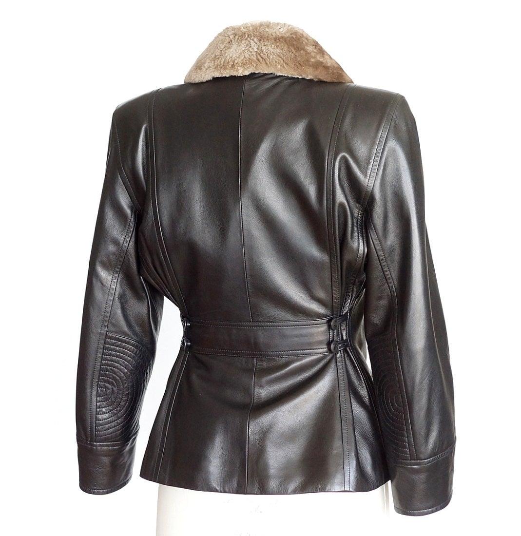 Black Hermes Vintage Leather Jacket with Detachable Fur Collar 42   For Sale
