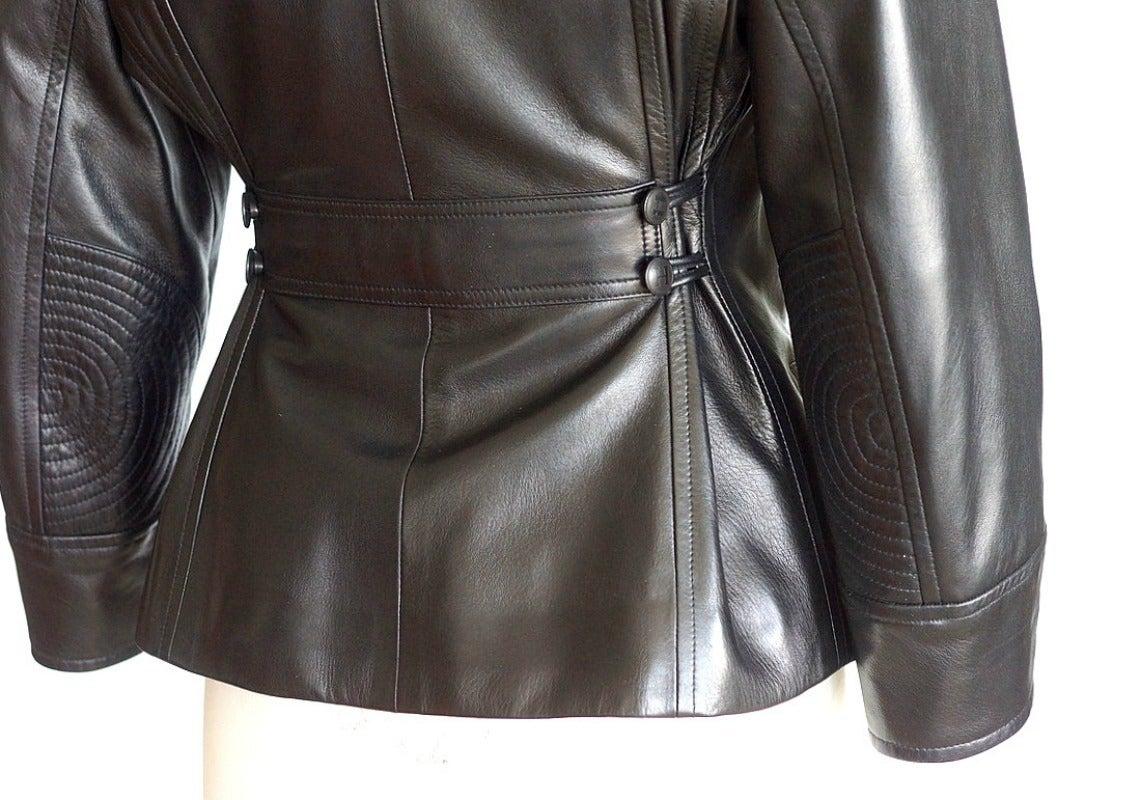 Hermes Vintage Leather Jacket with Detachable Fur Collar 42   For Sale 1