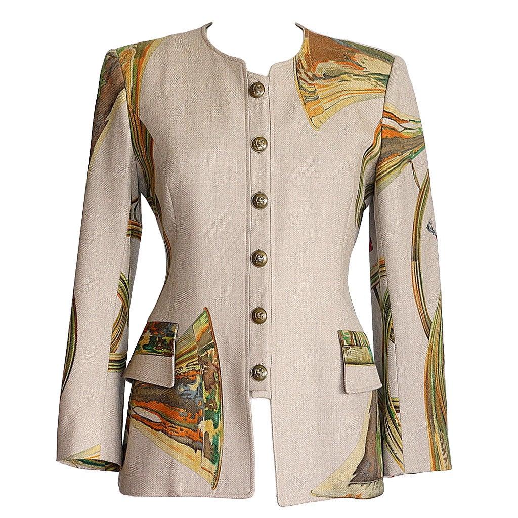 "HERMES jacket ""TROMPES DE CHASSE"" scarf print Cashmere Wool Vintage 38  6 1"