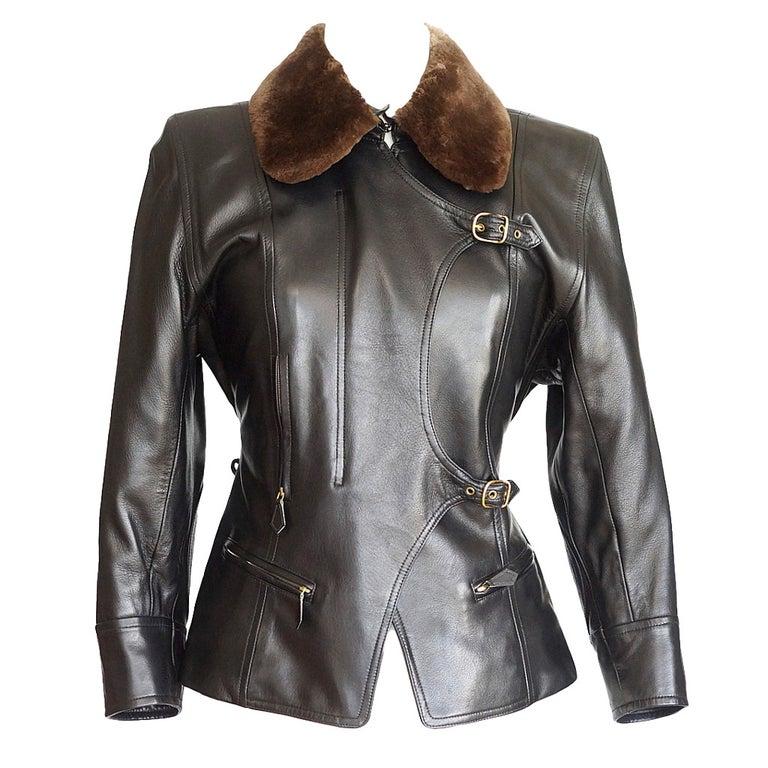 Hermes Vintage Leather Jacket with Detachable Fur Collar 42   For Sale