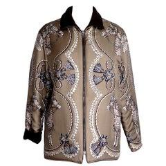 Hermes Jacket Silk Paperoles Reversible Cashmere Scarf Print S mint