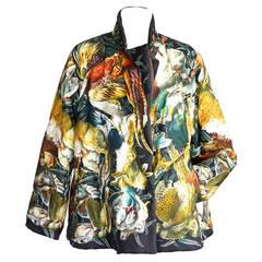 Hermes Jacket Gibiers Scarf Print RARE Vintage H de Linares 38 / 6 mint