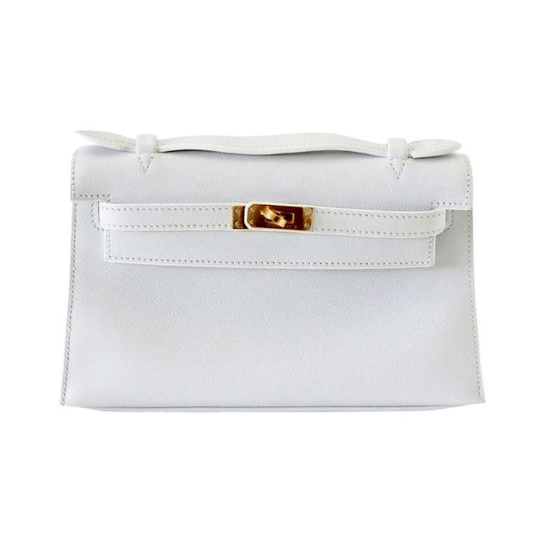 Hermes Kelly Pochette Clutch Bag Rare White Gold Hardware  For Sale