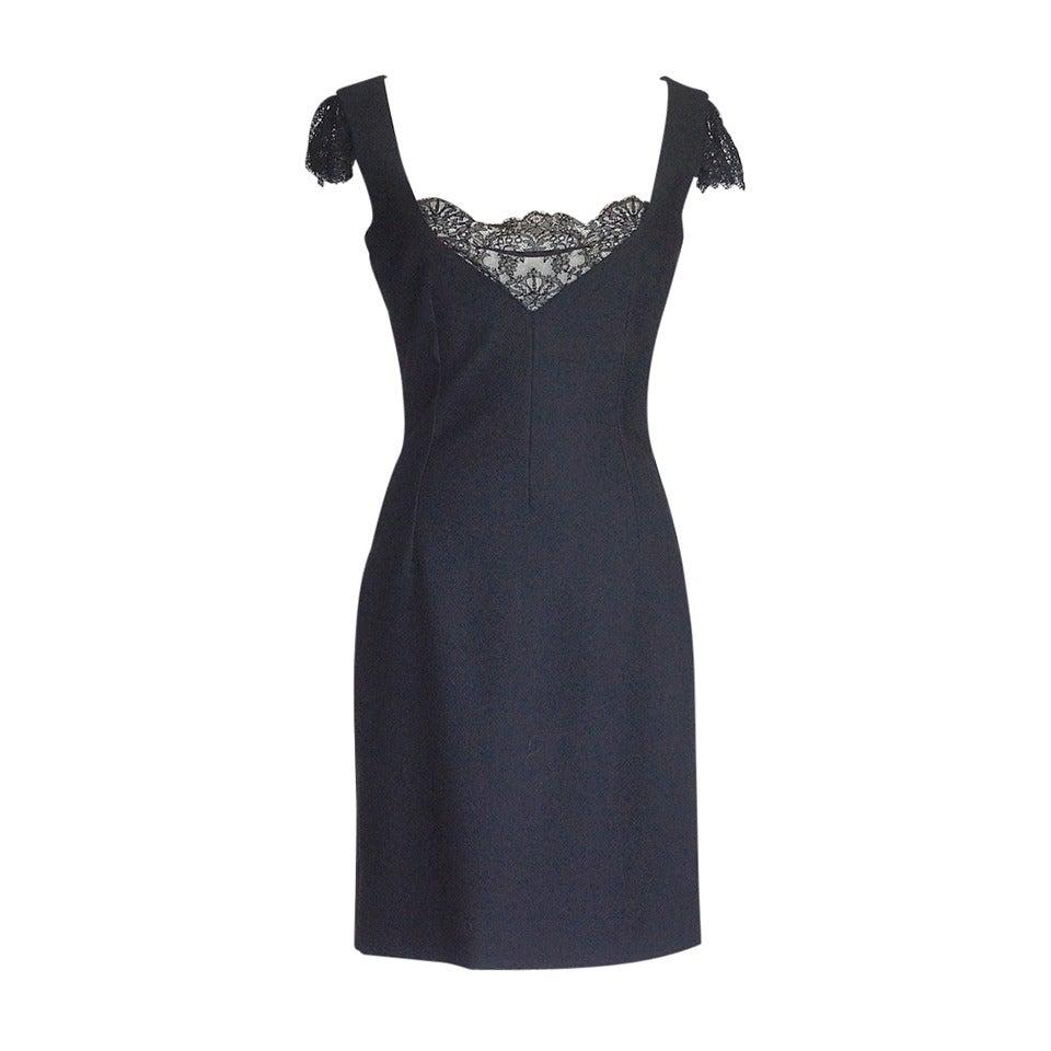 Dolce&Gabbana Dress Lace Inset Deep V Superb Fit 44 /  8