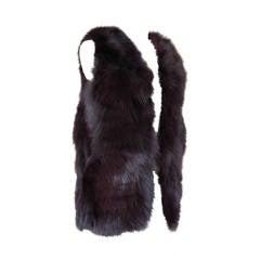 ADRIENNE LANDAU vest jewel toned Fox fur S nwt