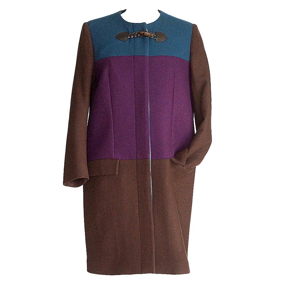 ETRO Coat Jewel Toned Color Block Wool Sleek 42 / 8