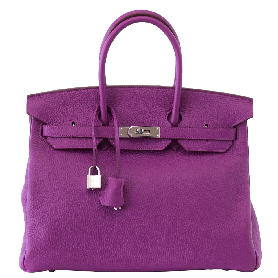 Hermes Birkin 35 Bag Rare Tosca HSS  Clemence Palladium For Sale