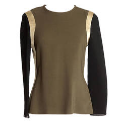 Givenchy Top Olive Black Gold Color Block Leather Trim 42 / 6  nwt