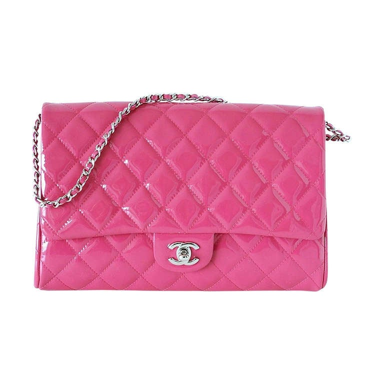 CHANEL bag Fuschia pink patent clutch / shoulder bag NWT 1