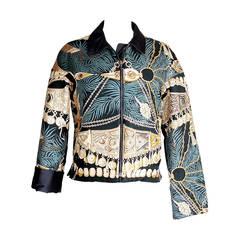 Hermes Jacket Terres Precieuses Scarf Print Reversible  L