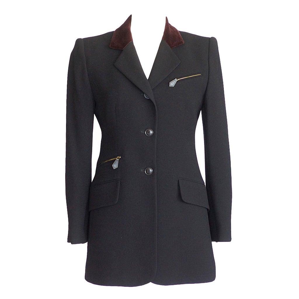 Hermes Jacket Riding Influence Zipper Pockets Velvet Collar Vintage 6 1