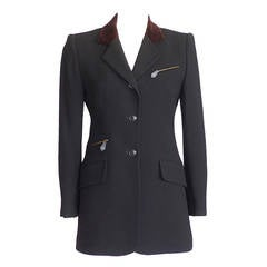 Hermes Jacket Riding Influence Zipper Pockets Velvet Collar Vintage 6