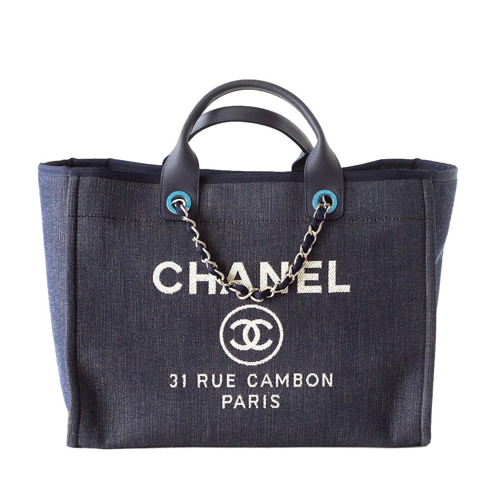 CHANEL bag DEAUVILLE tote 2015 NAVY Leather top Handle 1