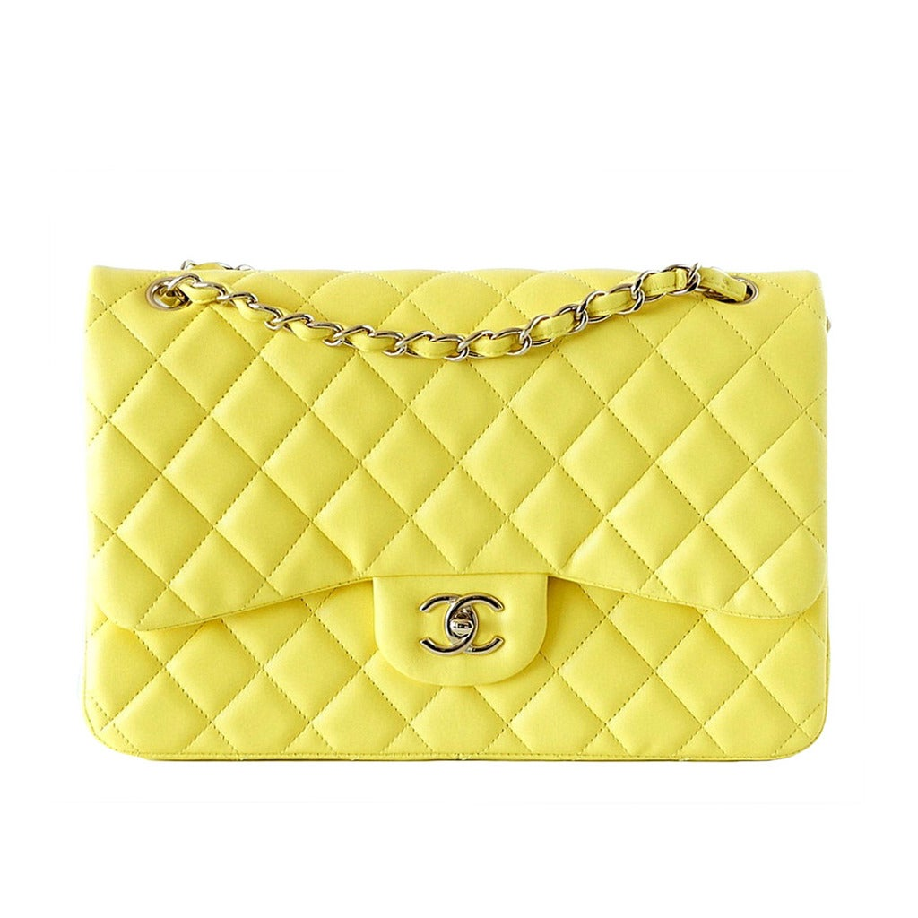 CHANEL bag MAXI classic double flap YELLOW lambskin New 1