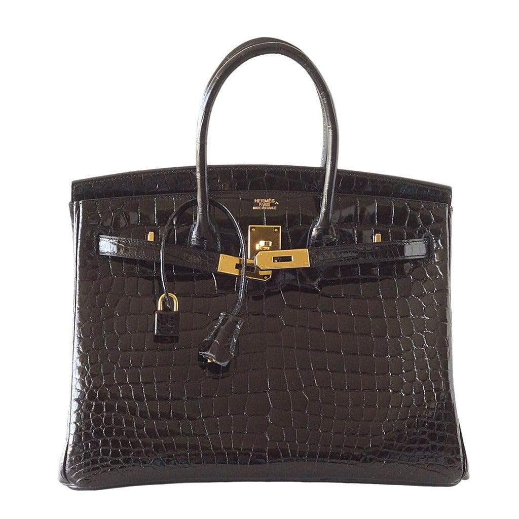 replica hermes birkin bags china - HERMES BIRKIN bag 35 Porosus crocodile coveted Black gold hardware ...