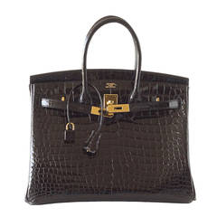 HERMES BIRKIN bag 35 Porosus crocodile coveted Black gold hardware