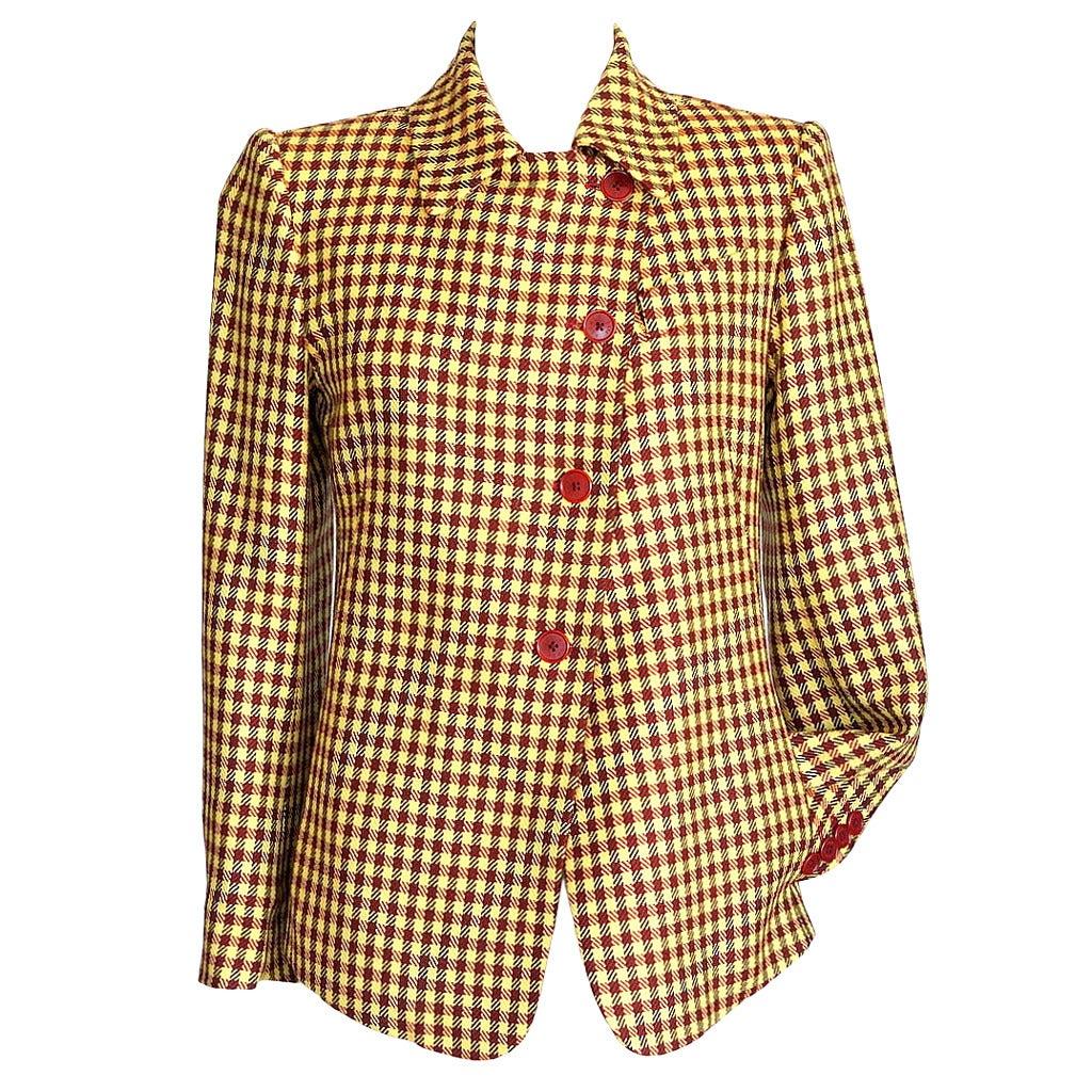 Hermes Jacket Fabulous Rich Plaid Rouge and Jaune 36 / 4