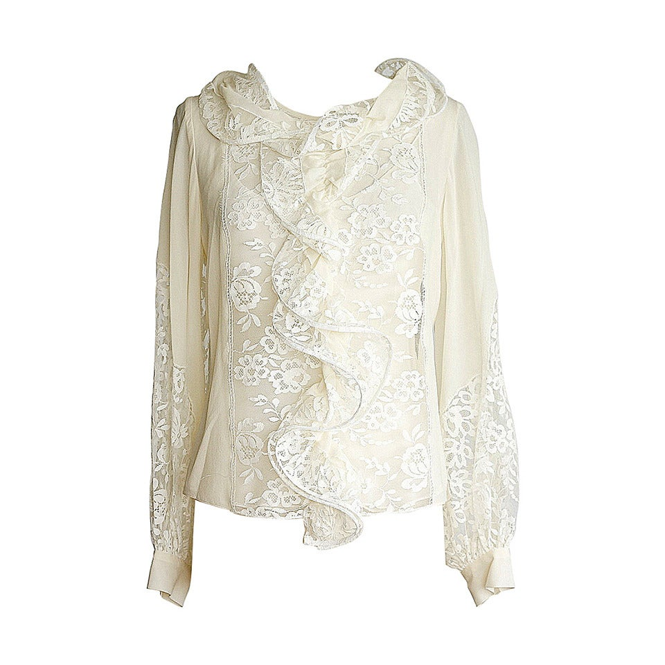 OSCAR de la RENTA top cream silk blouse beautiful lace insets 8 NWT For Sale