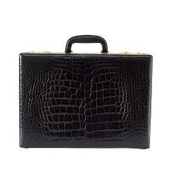 BRIEFCASE Vintage Jet Black Crocodile Beautiful Scales Olive Pig Skin Lining