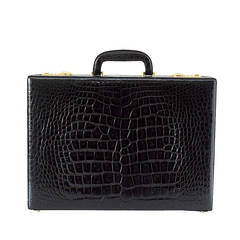 BRIEFCASE Vintage Jet Black Crocodile Beautiful Scales Olive Pig Skin Lining
