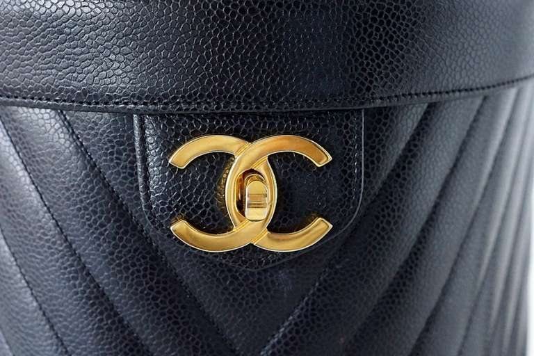 CHANEL Bag Vanity Chevron Caviar Leather Gold CC Turnkey Shoulder Strap Mint 2