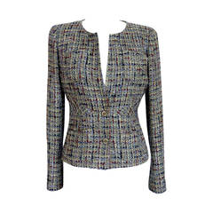 CHANEL 03P jacket rich olive toned Fantasy Tweed 40  6