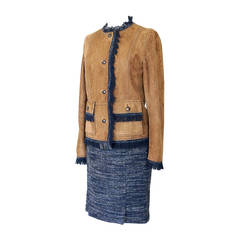 DOLCE&GABBANA skirt suit suede jacket fringe tweed skirt leather buttons 42 8