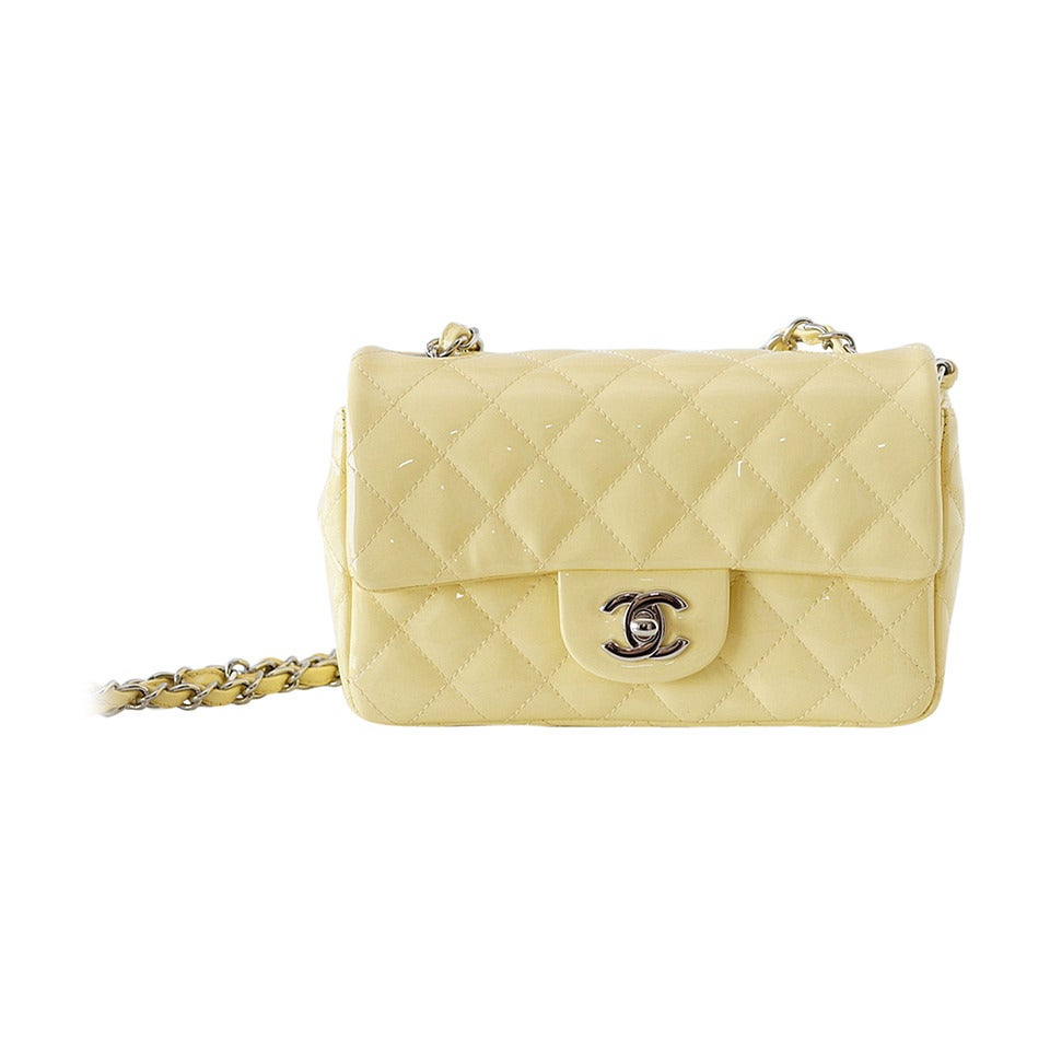 342a3e9d7885 CHANEL flap bag MINI pale Yellow patent leather too gorgeous! at 1stdibs