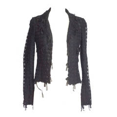 CHANEL 05C jacket coveted black tweed and mesh with ribbon trim 34  4