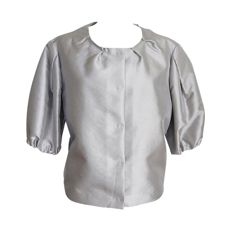 Prada Modern Jacket Soft Silver Elbow Area Sleeve 42 /  8 For Sale 3