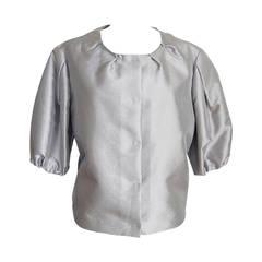 Prada Jacket Soft Silver Elbow Area Sleeve Modern Sleek 42 /  8