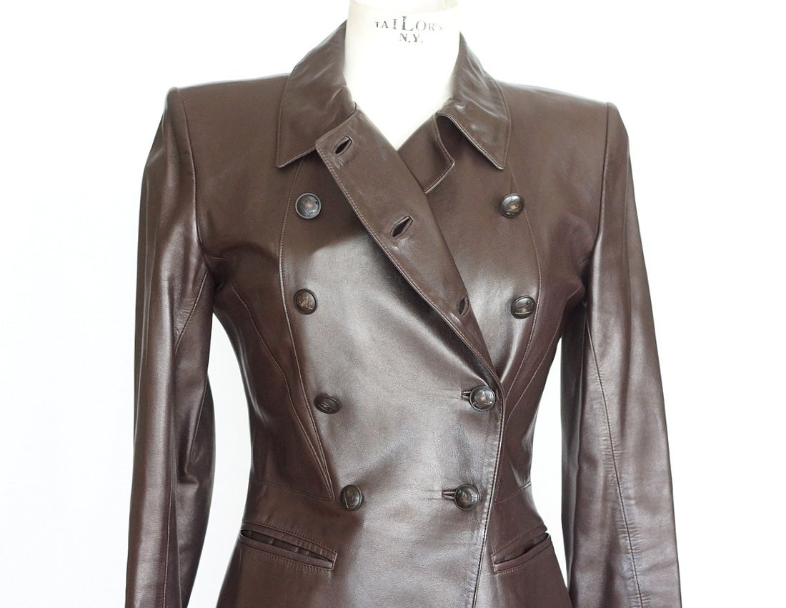 Superb luscious very dark brown lambskin vintage leather jacket.