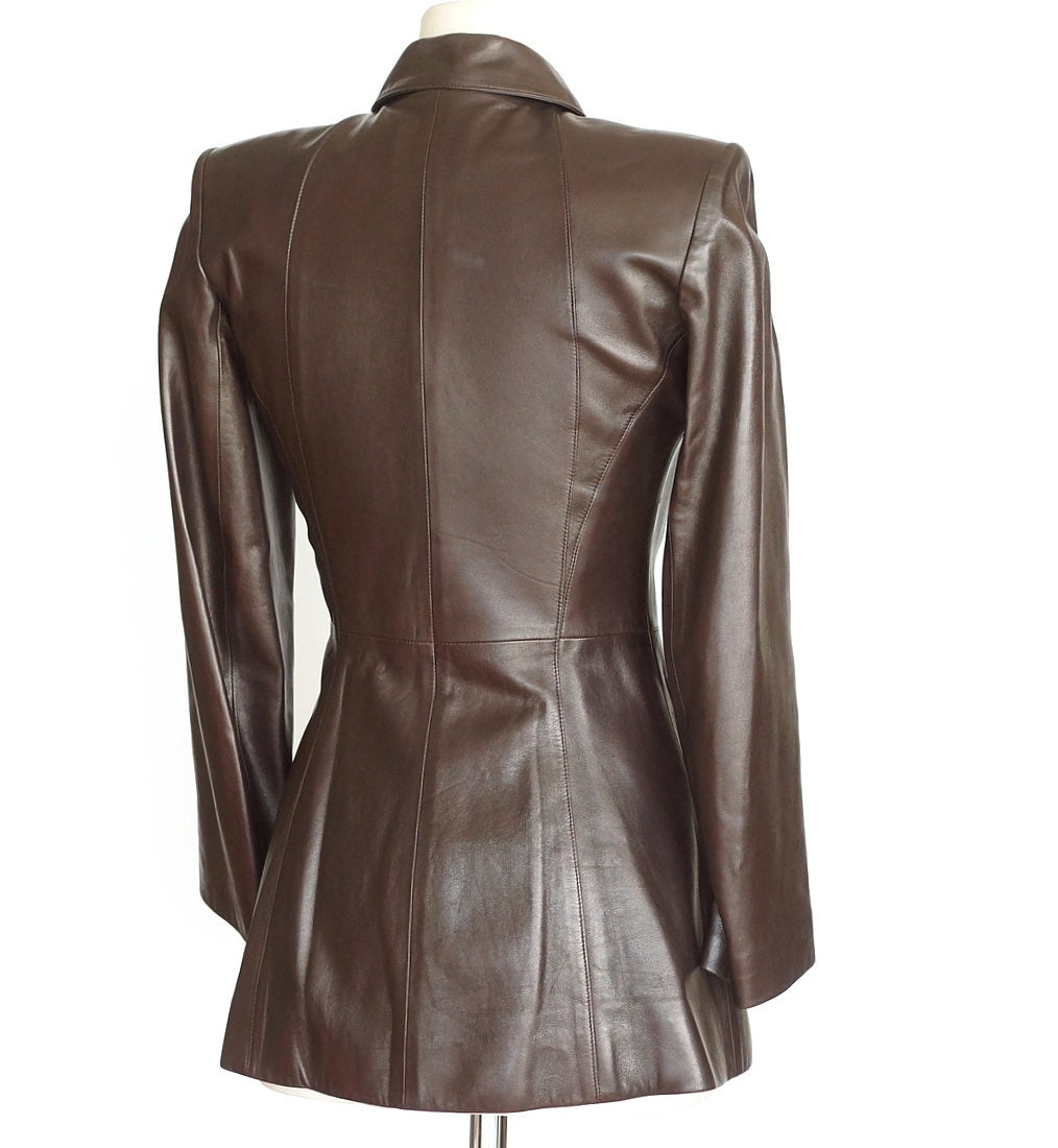 Gray HERMES vintage lambskin leather brown jacket SUPERB details 36 4 to 6 For Sale