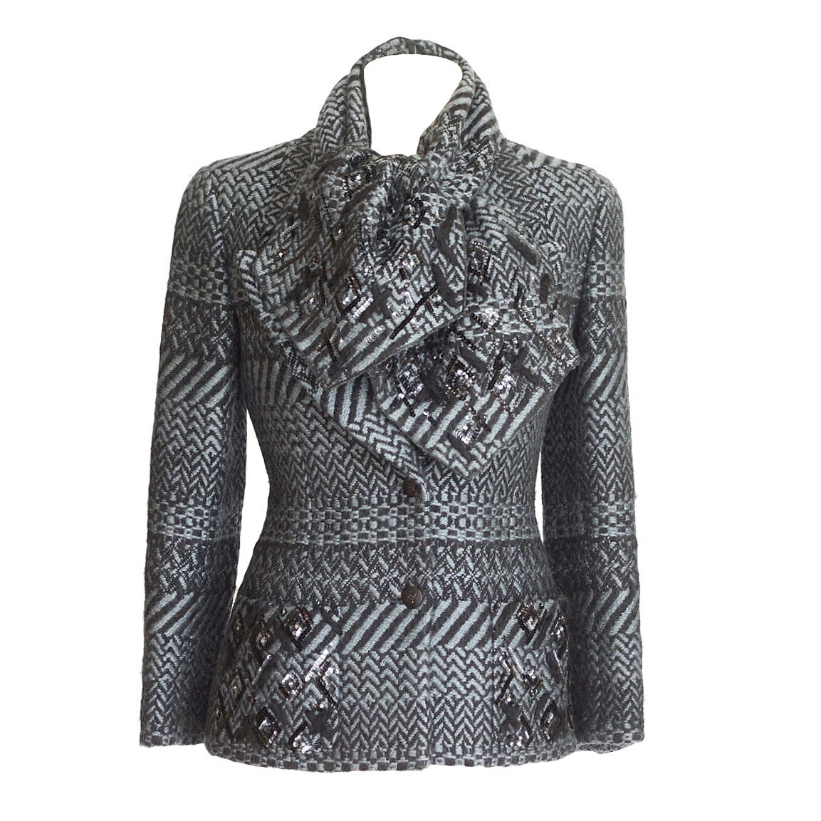 CHANEL 00A jacket black/gray tweed scarf sequin dtl  38  4 For Sale