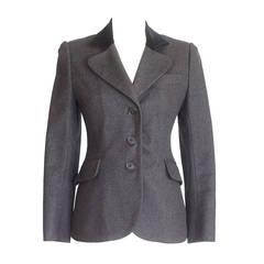 Hermes Jacket Charcoal Gray Cashmere Rear Dtl Velvet Collar Vintage 38  4 / 6
