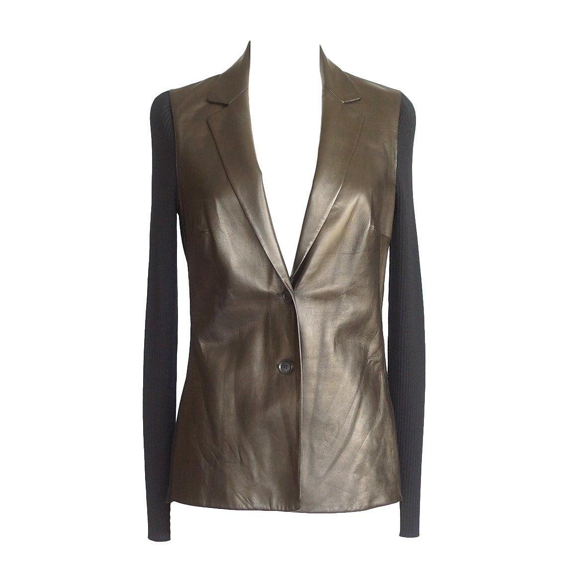 Gucci Cardigan / Jacket Gunmetal Lambskin Front and Black Wool M
