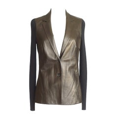 Gucci Cardigan / Jacket Gunmetal Lambskin Front and Black Wool M
