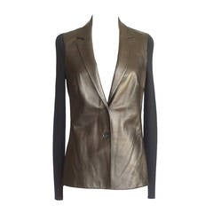 GUCCI cardigan / jacket gunmetal lambskin and wool M