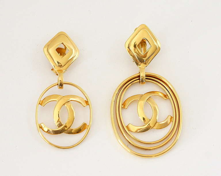 CHANEL vintage hoop earrings worn 3 ways bold and fabulous rare 2