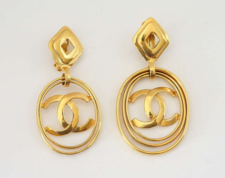 CHANEL vintage hoop earrings worn 3 ways bold and fabulous rare 3